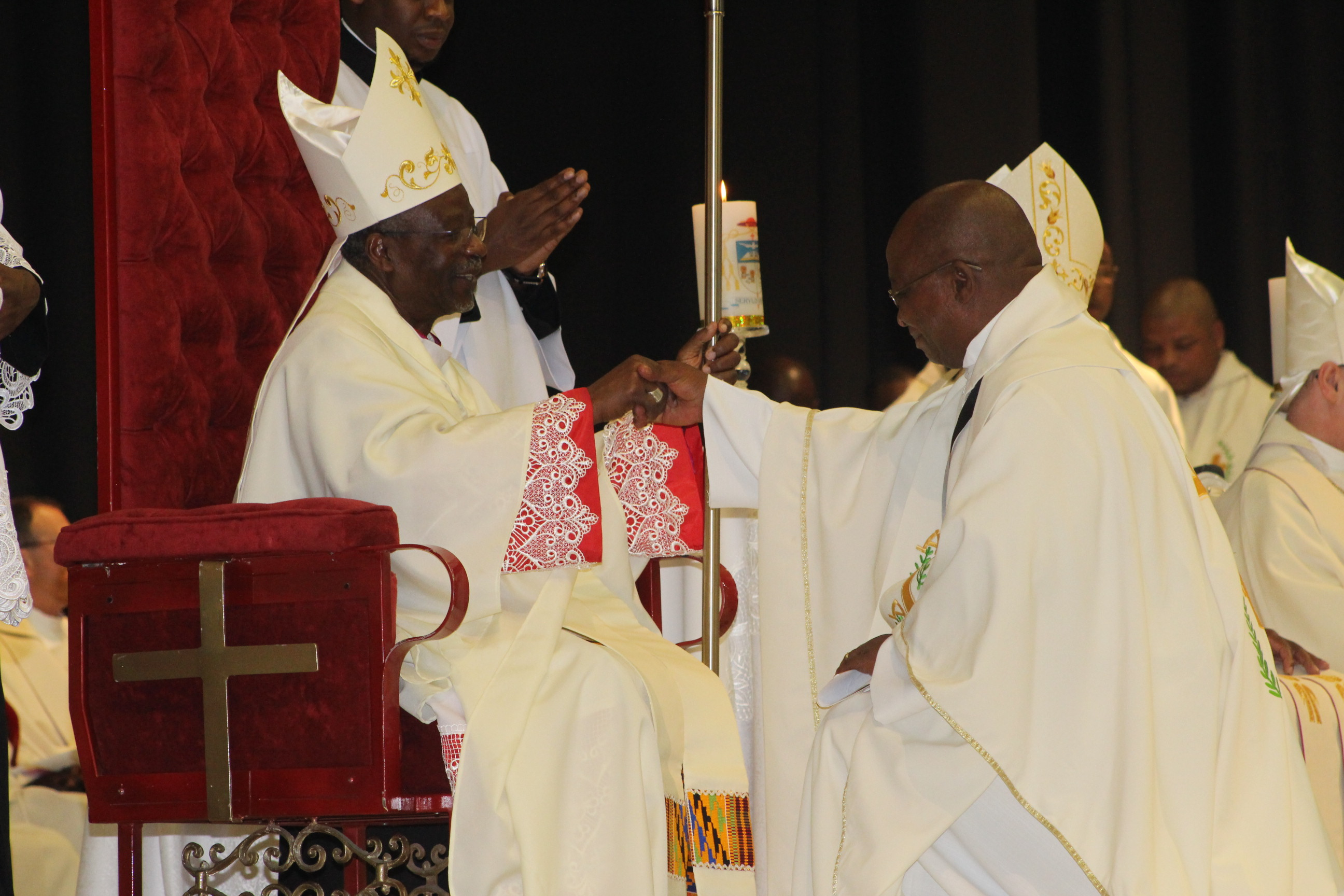 Bishop Frank Nubuasah being welcomed and greeted by Johannes P. Kgaodi, on of the senior priests of Gaborone Diocese