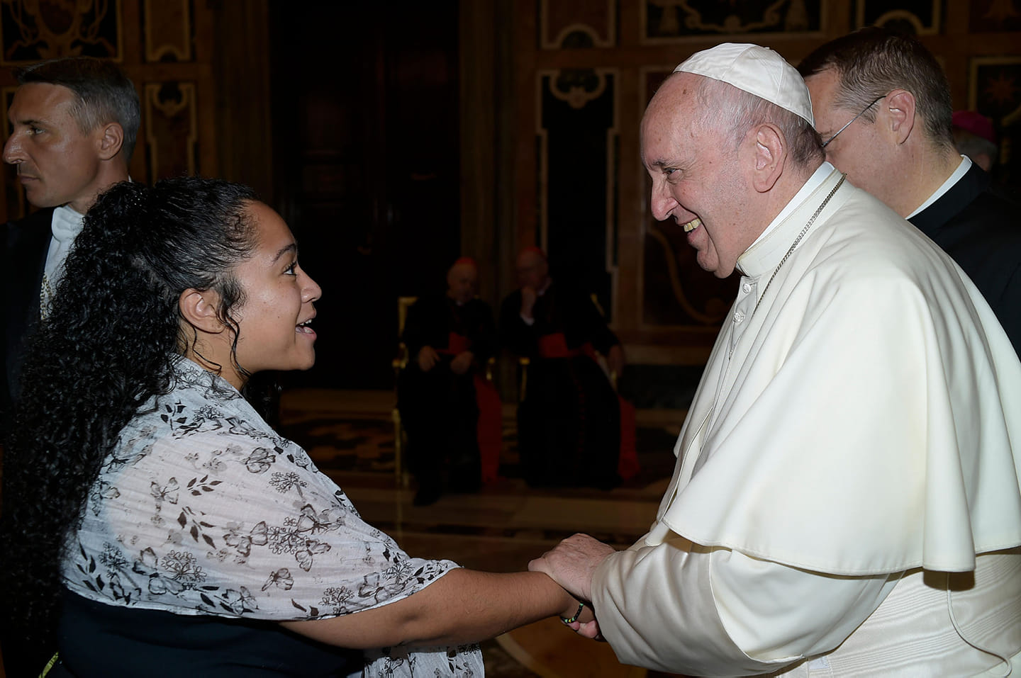 Dominique Yon Greeting Pope Francis