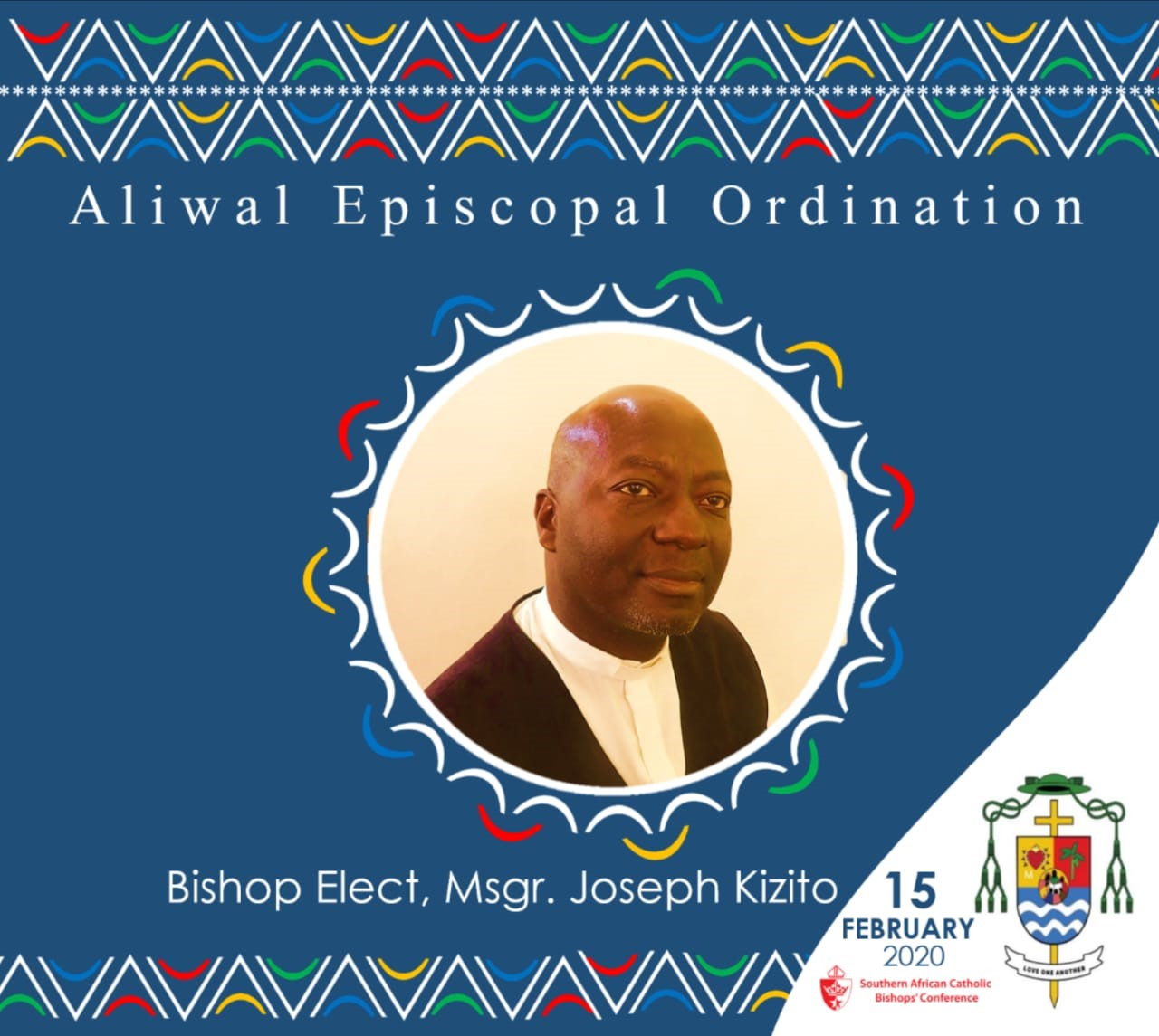 Bishop elect Monsignor Joe Kizito to be Ordained Bishop of Aliwal North in February 2020