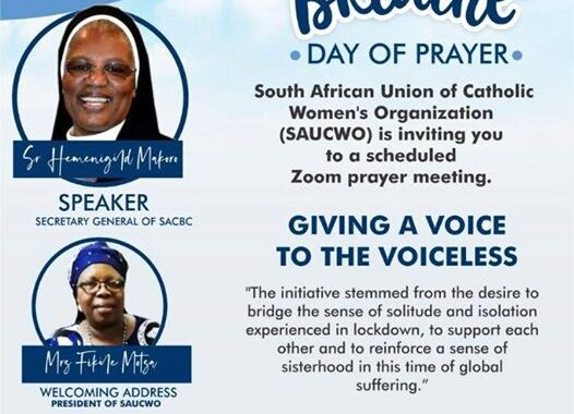 South African Union of Catholic Women's Organisation (SAUCWO), invites all Women to a day of prayer