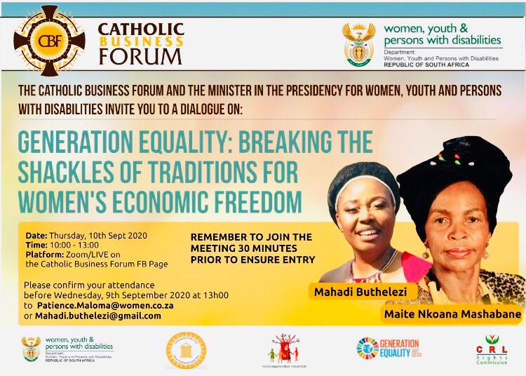 The Catholic Business Forum partners with the Department of Women on Generation Equality... Join the Webinar